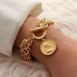 Fashion Coin multilayered Gold bracelet